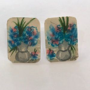 Vintage Card-stock Earrings Floral Print